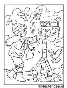 Colouring girl with birdhouse, kleuteridee. Winter Kids, Winter Art, Winter Colors, Winter Theme, Christmas Coloring Pages, Coloring Book Pages, Coloring Sheets, Christmas Colors, Winter Christmas