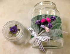 Decorated jars, fast becoming a favourite craft! Moccona coffee jar, ribbons, flowers, tulle, beads, so easy!