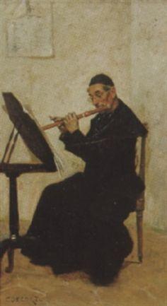 Charles Éduard Delort - Prêtre jouant de la flûte