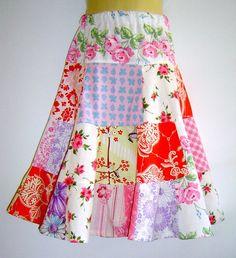 Girls sz 7-8-9 Garden Party Patchwork Skirt - by littledukyeg on madeit