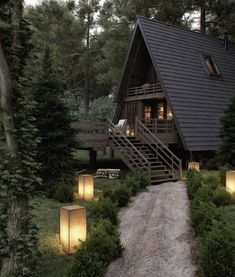 Forest House at VWArtclub Rustic house Forest House Cabin Homes, Log Homes, Future House, Cabin In The Woods, Forest House, Forest Cottage, Forest Cabin, Cottage House, Cabins And Cottages