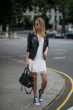 how to style a slip dress for summer, black biker jacket, converse all star ox…