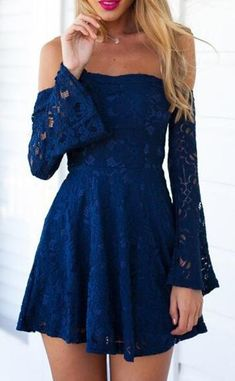 Off The Shoulder Homecoming Dresses,Mini Prom Dresses,Lace Homecoming Dress,Charming Prom Dress, Blue Lace Homecoming Dress,sexy dress for summer party,Long Sleeves Homecoming Dresses,Homecoming Dress