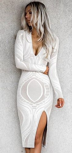 #summer #outfits White V-neck Lace Dress ⭐️