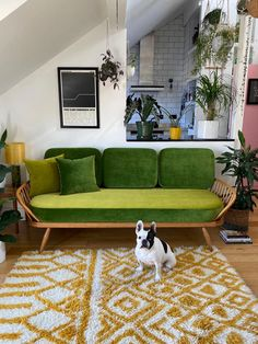 Check out this latest Reloved Ercol studio couch makeover! What a stunner.Simion couldn't decide between two shades of beautiful green velvet, so chose both and made two sofas in one...which combination is your favourite? (I think we can see which is Gypsy the Frenchie's favourite!)This particular makeover was a very personal one, as it was actually for Simion's flat here in Manchester! The fabric is from the Linwood Omega Velvet collection.Below are a couple m Ercol Sofa, Ercol Furniture, Couch Makeover, Retro Sofa, Sofa Inspiration, Green Cushions, Furniture Restoration, One Bedroom, Living Room Sofa