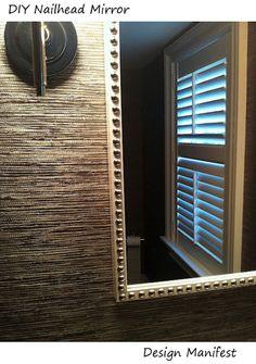 DIY nail head mirror against grasscloth wallpaper. Furniture Makeover, Diy Furniture, Diy Mirror, Mirror Trim, Mirror Ideas, Ikea Frames, Wall Trim, Tips & Tricks, Home Decor Accessories