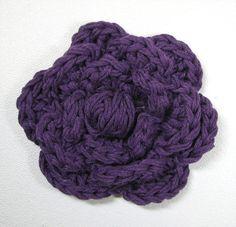 Purple Hair Flower  3 Crochet Flower Hair Clip by simpledesign816, $4.00