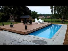 Terrasse mobile de piscine : un Rolling-Deck® en 2 parties à Margency - YouTube