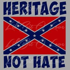 Navy and Red Heritage Not Hate Confederate Rebel Flag Vinyl Decal | LilBitOLove - Housewares on ArtFire