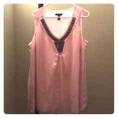 Sleeveless Blouse Size 18W. Gorgeous champagne colored top with a sheer overlay and beaded neckline.  Can be perfectly paired with slacks or jeans. Alfani Tops Blouses