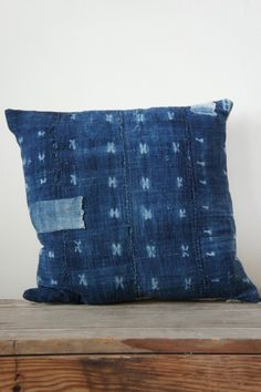 African Indigo Vintage Patch Pillow - Trading Post / Arrow & Arrow