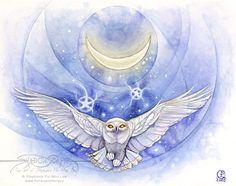 Art Print - Owl by Stephanie Pui-Mun Law-Stephanie, Pui-Mun Law, shadowscapes, birds, moon, night, owl,Art print, fine art print, print, archival, giclee, giclée