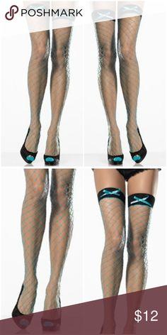 Fishnet Bow Thigh Highs Gothic Punk Clothing Blue Fishnet Bow Thigh Highs Gothic Punk Clothing 9064 Accessories Hosiery & Socks