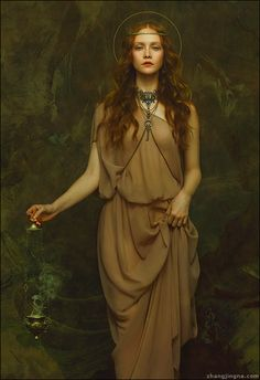 Motherland Chronicles - Erin. Photography: Zhang Jingna / Hair/Model: Erin Taylor / Makeup: Gregg Brockington / Choker and chain: Julee M Clark / zhangjingna.com #art #fantasy #waterhouse
