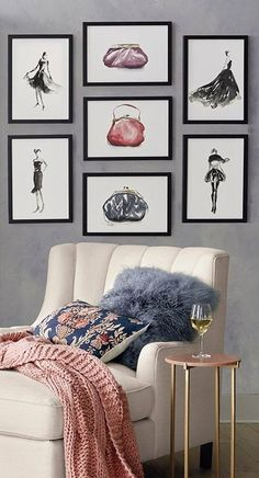 Displayed as a collection or individually, the Clutch Prints make a sophisticated accessory for a dressing room or bath. These giclée prints replicate the rich tones of a watercolor sketch, originally rendered on stark-white artist paper.