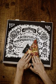 "Hell Pizza Ouija box - from pizza chain ""Hell Pizza' in New Zealand, creative design and their whole website is very cool. But I would eat the pizza no time for games when I'm with pizza Cool Packaging, Brand Packaging, Packaging Design, Branding Design, Ouija, Pizza Branding, Restaurant Identity, Art Design, Food Design"