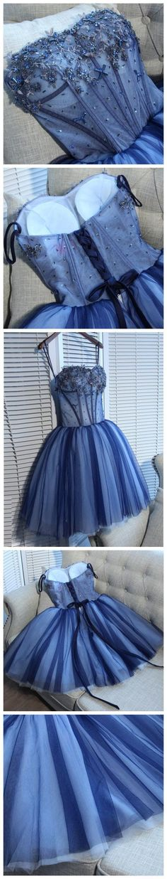CHARMING HOMECOMING DRESSES,CHIC BLUE SWEETHEART TULLE SHORT PROM DRESS PARTY