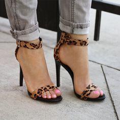 Leopard Luxe Single Strap Heels