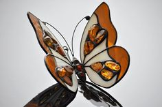 3D Amber & Stained Glass Butterfly. Tiifany glass animal decorated with natural Baltic amber. Mothers day gift