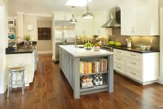 Grey Kitchen Island Island Cookbook Shelves - Design photos, ideas and inspiration. Amazing gallery of interior design and decorating ideas of Grey Kitchen Island Island Cookbook Shelves in kitchens by elite interior designers. Kitchen Island Storage, Grey Kitchen Island, Shaker Kitchen Cabinets, Kitchen Peninsula, Kitchen Islands, Home Design, Interior Design, Design Ideas, Kitchen Bookshelf