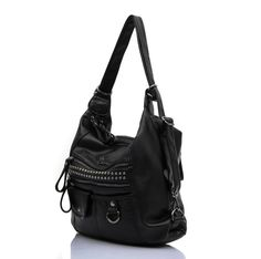 Siena Signature Shoulder Crossbody Backpack Everyday Bag SC010 (Black). Stylish and elegant bag with beautiful gunmetal color hardware and decorative studs between horizontal zippers. Asymmetrical front flap over pocket design makes this bag never out of style! Easy conversion between single shoulder bag, cross-body bag and backpack. Made of of high quality leatherette which resembles the texture and softness of lambskin. Fabric-lined spacious interior with two roomy main compartments…