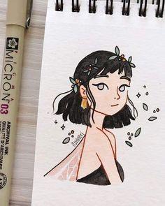Girl Drawing Sketches, Girly Drawings, Art Drawings Sketches Simple, Pencil Art Drawings, Cartoon Drawings, Cartoon Illustrations, Art And Illustration, Doodle Art, Arte Sketchbook