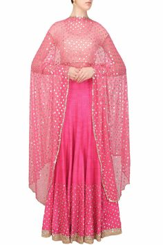 Hot pink sequins embroidered lehenga and off white blouse set available only at Pernia's Pop Up Shop.