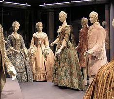 Clothing the mid-18th Century ensemble of three dresses a la française