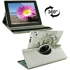 For+iPad+4/3/2+360+Degree+Rotation+Rose+Pattern+Flip+Leather+Case+with+Holder