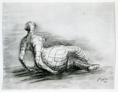 Reclining Figure: Distorted 1979 Page from Reclining Mother and Child Notebook HMF 79(21) chalk, charcoal, wax crayon, ballpoint pen, waterc...