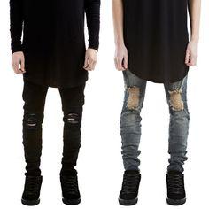 Men's Distressed Ripped Jeans Moto Black Denim Pants Slim Skinny Fit Trousers Ll