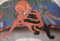 <蛸と熊の相撲 :  TAKO TO KUMA NO SUMOU>  SUMOU WRESTLING OF OCTPUS AND BEAR  KUNIYOSHI UTAGAWA  1798-1861  Last of Edo Period