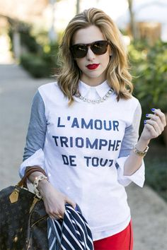 J. Crew BaseBall Styled Tee  #Designer Tee #L'amour triomphe de Tout Print #Baseball Clothes #Printed Tee #Contrast Sleeves Sweatshirt #Stylish Sweater #Girly Chic Look