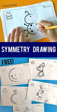 FREE printable Symmetry drawing activity for preschool and kindergarten kids. A fun art and math activity in one! Kids will complete the symmetrical pictures by drawing the other half.