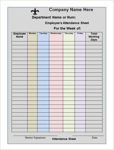 Cute Attendance Sheet Template Teachers Sheets Pictures   Pinteres