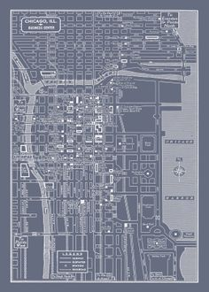 Chicago stock exchange chicago il architectural blueprint 1949 vintage map of chicago illinois 11x17 dr who gray map print poster malvernweather Choice Image