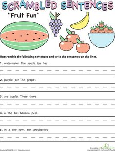 Worksheets: Scrambled Sentences: Fruit Fun