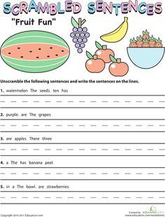 Worksheets: Scrambled Sentences: Fruit Fun