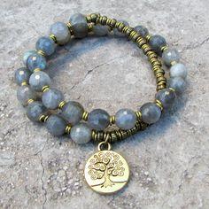 Genuine Labradorite 27 bead wrap mala bracelet. Labradorite is said to bring good luck and serendipity