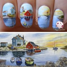 Inspired by a painting by Raymond Edmonds #nailart - bellashoot.com & bellashoot iPhone & iPad app