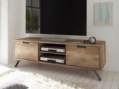 Modern retro design media unit with 2 doors in Canyon Oak wood effect finish