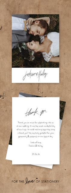 Rustic Wedding Inspiration | Wedding Thank You Cards | Modern Calligraphy | Thank You Cards with Photos | For the Love of Stationery