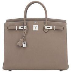 Hermes Etoupe 40cm Birkin Bag Togo Palladium Hardware Sporty Chic (500.360.380 VND) ❤ liked on Polyvore featuring bags, handbags, plastic handbags, brown handbags, brown purse, hermes bag and hardware bag