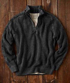 Effortlessly Cool Men's Sweaters - Hi-Def Zip Neck - Carbon2Cobalt