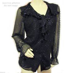 BOB MACKIE BLACK Glitters Metallic SILVER STRIPE STRIPED Sheer LONG SLEEVE TOP #Blouse #EveningOccasion #tops #fashion #clothing #clothes #women #woman $75 ... more tops for sale http://stores.ebay.com/Tropical-FEEL