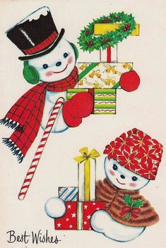 Vintage Christmas Card this  looks  to  be  old and  vintage  Christmas  card from 1950's  or  so i  love  the  two little  snow  men and  snow  woman holding  presents in thier  snow hands