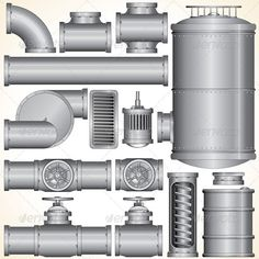 Vector Industrial Elements #GraphicRiver Industrial Pipeline Parts. Pipe, Tank, Valve, Motor, Shaft, Connector