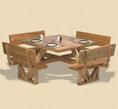 29-YF16 - Square Picnic Table Woodworking Plan.