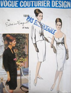 Rare 1960s Vogue Couturier Design Federico Forquet by PatternGal, $150.00