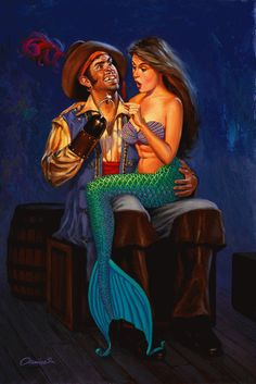 The Pirate and the Mermaid ~ Their facial expressions just make me giggle. ^_^
